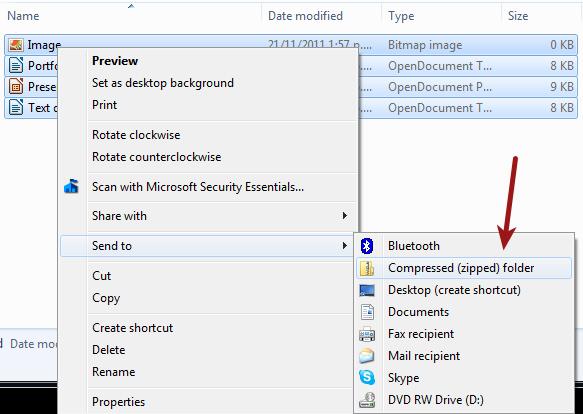 Zip files in Windows
