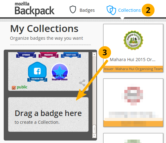 Drag a badge onto a new collection space