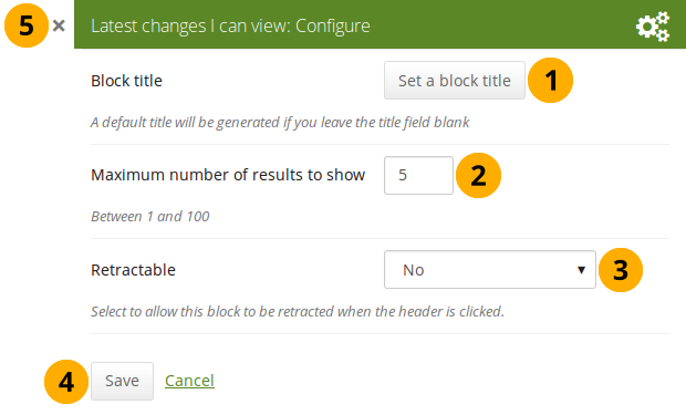 "Configure the block ""Latest changes I can view"""