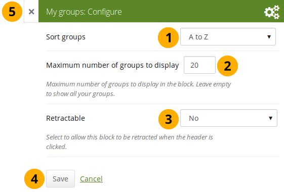 Configure the block My groups