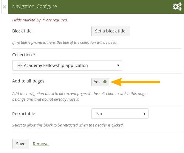"""Add the """"Navigation"""" block to all collection pages"""