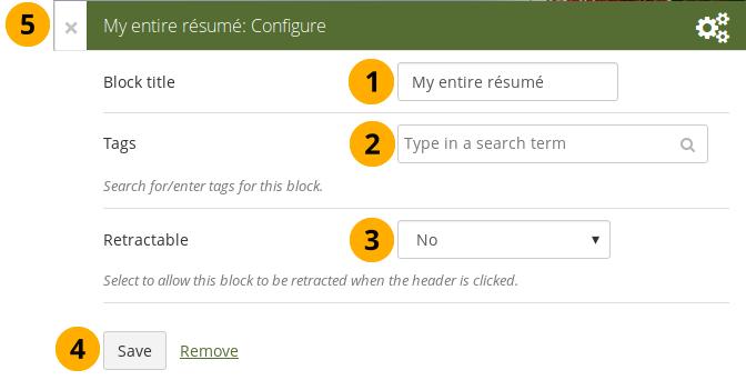 """Configure the block """"My entire résumé"""""""