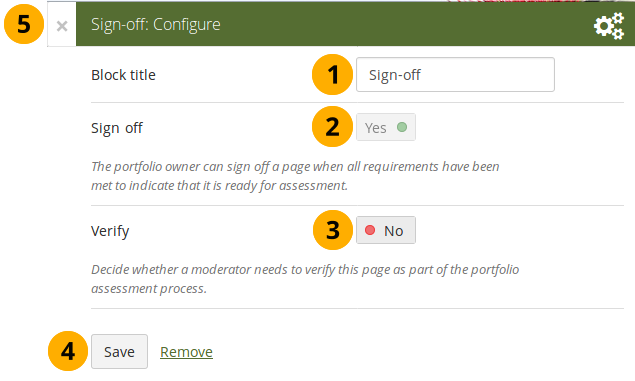 "Configure the ""Sign-off"" block"